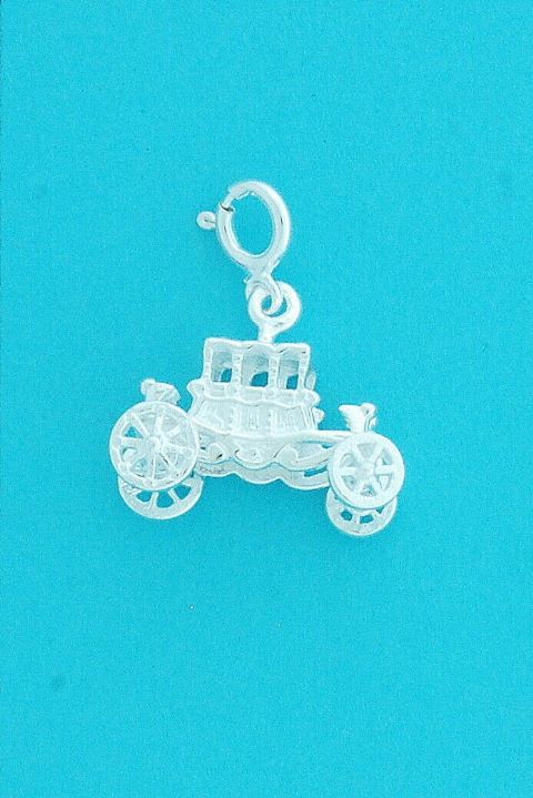 Genuine 925 Sterling Silver Clip On Antique Styled Carriage With Wheels Charm